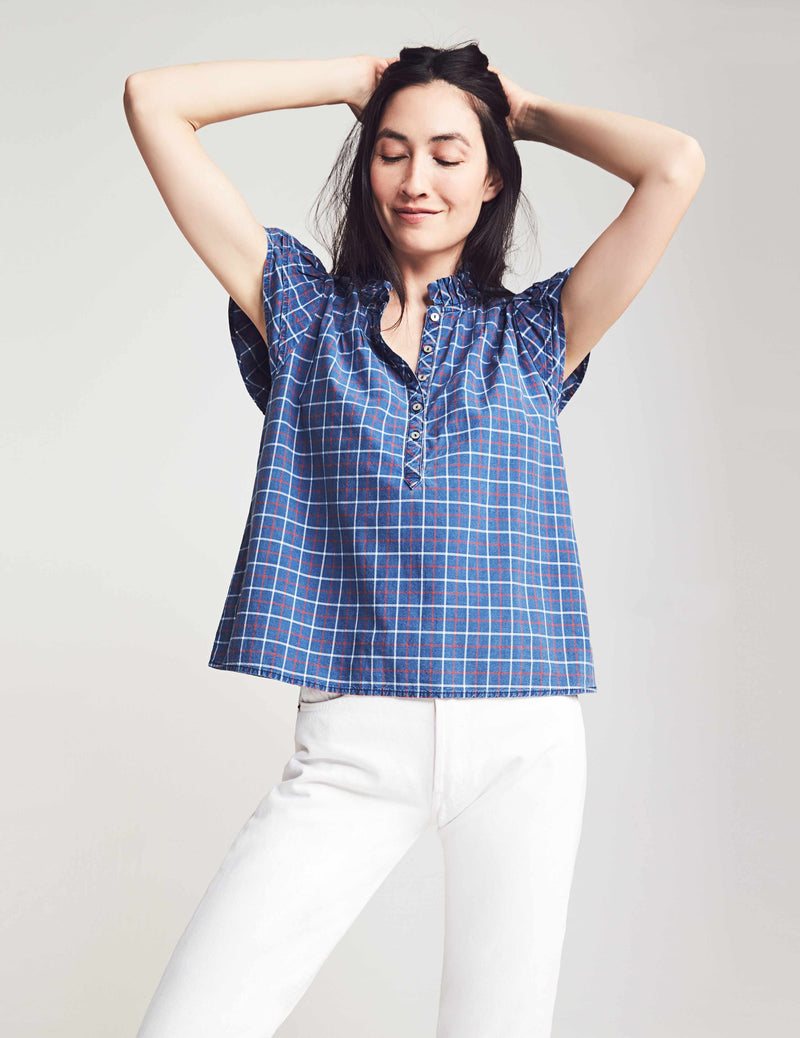Shania Blouse - Indigo Plaid