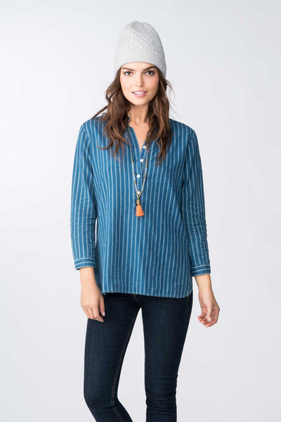 Selvage Printed Stripe Shirt - Indigo
