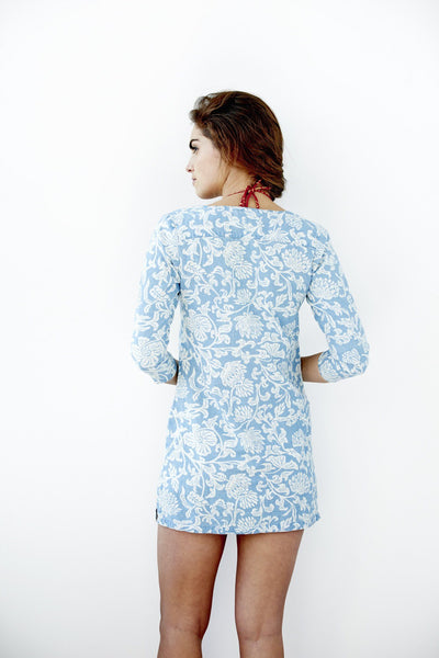Palm Tunic - Light Chambray Release Print Floral