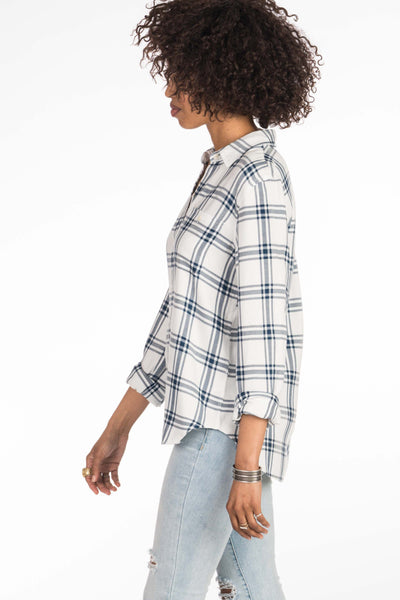 Newport Shirt - White & Navy Plaid