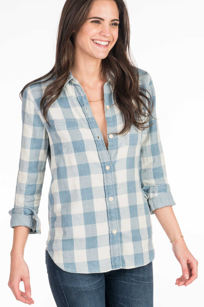Doublecloth Malibu Shirt - Light Blue Buffalo Check