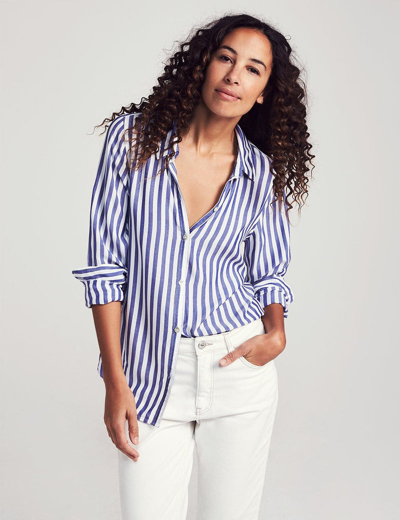 Drapey Supersoft Shirt - Blue/White Stripe
