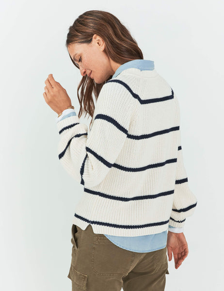 Seasons Sweater - Cream/Navy Stripe