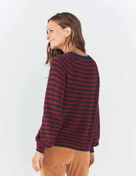 Royal Palm Sweater - Vintage Maroon Navy Stripe
