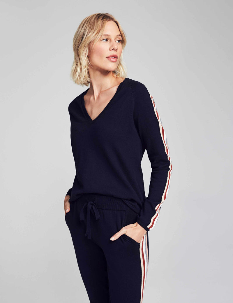 Sconset V-Neck Sweater - Navy Stripe