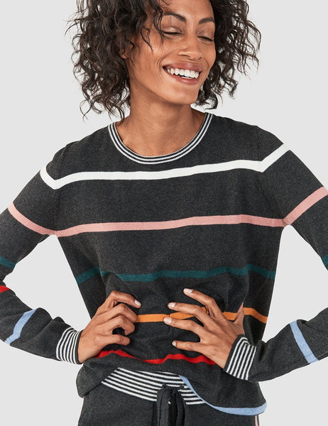 Slope Style Sweater - Multi Ski Stripe