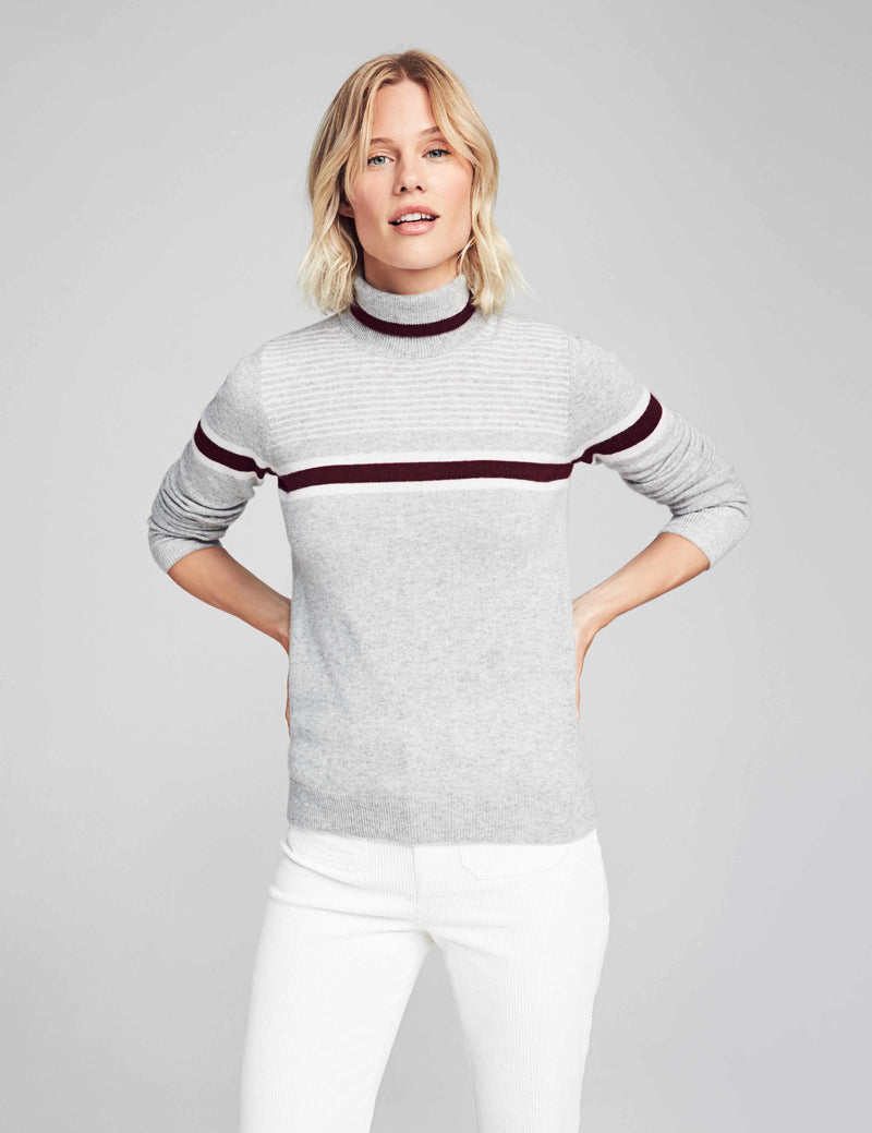 Solange Cashmere Sweater - Heather Grey Burgundy