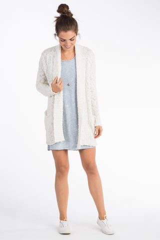 Riley Slub Open Cardigan - Cream