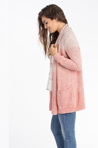 Riley Open Cardigan - Ombre Coral
