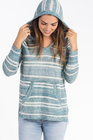 Bayside Sweater Poncho - Teal Stripe