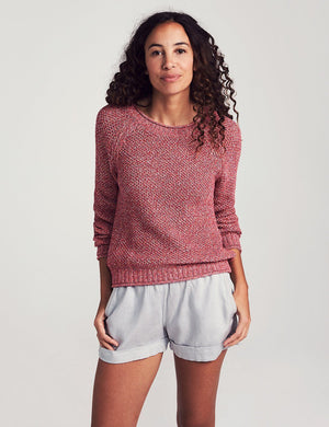 Mixed Stitch Cotton Roll Neck Crew - Queensland Coral