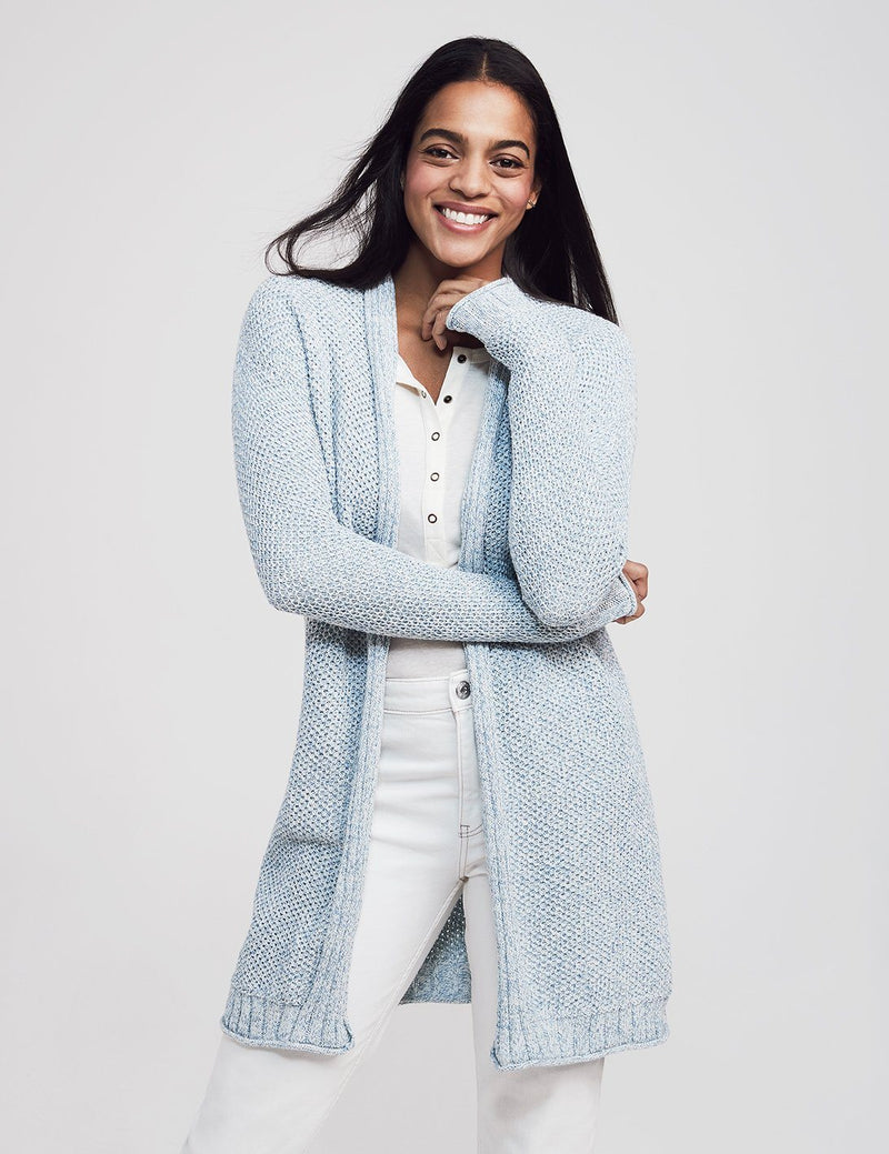 Mixed Stitch Cotton Roll Neck Cardigan - Sky Multi