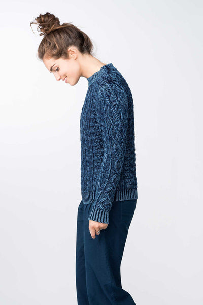 True Indigo Cable Crewneck