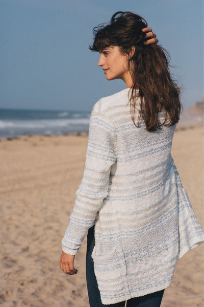 Big Sky Cardigan - Steel Blue/Cream Multi