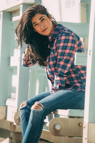 Malibu Shirt - Indigo & Rose Plaid