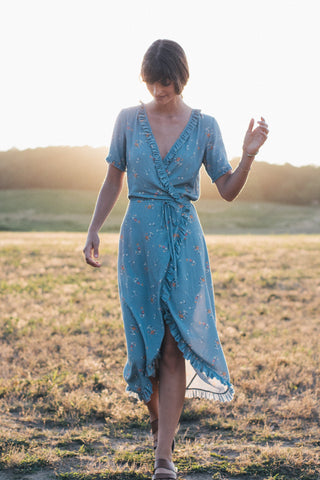 Camilla Maxi Dress - Steel Blue Floral Breeze