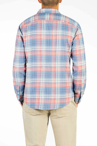 Signature Washed Twill Shirt  - Field Blue & Red Plaid