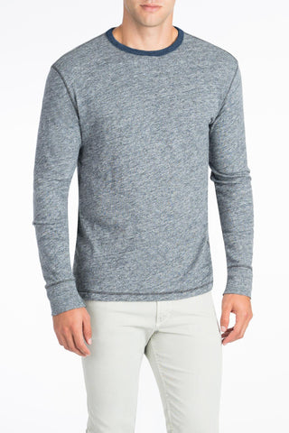 Long-Sleeve Heather Reversible Tee - Navy/Athletic Grey