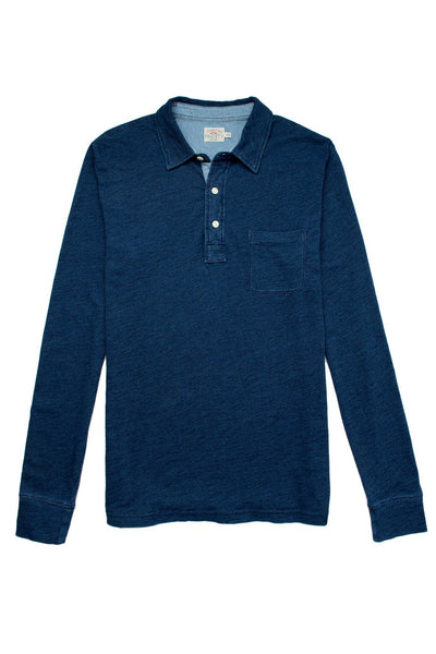 Long-Sleeve Indigo Polo - Dark Wash Indigo