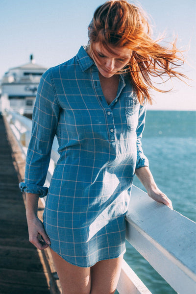Lighthouse Shirtdress - Faded Indigo Windowpane
