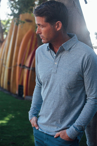 Long-Sleeve Heather Polo - Blue Feeder Stripe
