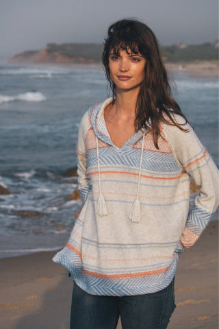 Maori Sweater Poncho - Heather Grey Multi