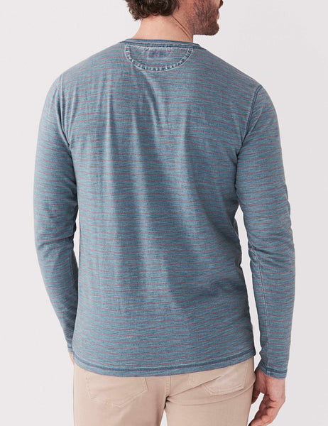 Long-Sleeve Indigo Henley - Vintage Wash Red Stripe