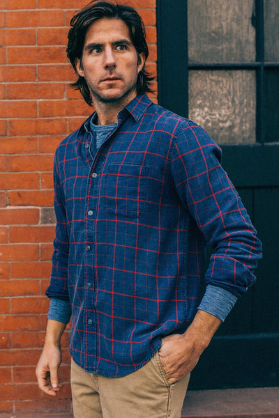 Signature Washed Twill Shirt  - Navy Windowpane