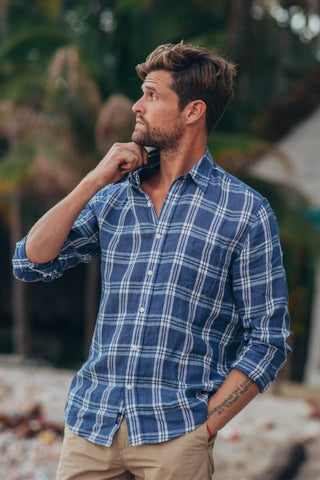 Linen Ventura Shirt - Navy Plaid