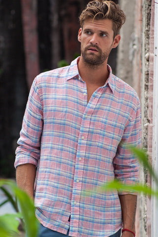 Linen Ventura Shirt - Faded Red Plaid