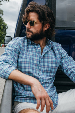 Ultra Fine Newport Check Shirt - Purple & Blue Check