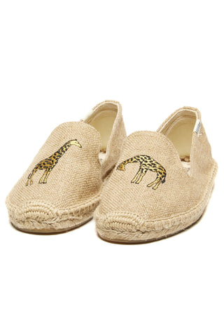Soludos Giraffe Embroidered Smoking Slipper - Natural