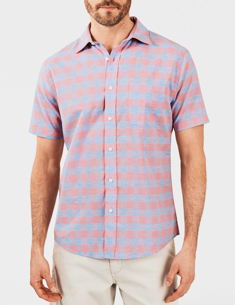 Short-Sleeve Stretch Summer Blend Shirt - Rose Buffalo Check