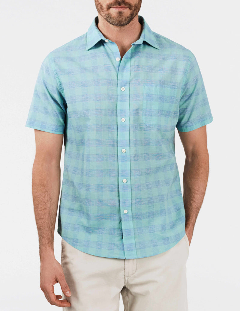 Short-Sleeve Stretch Summer Blend Shirt - Mint Buffalo