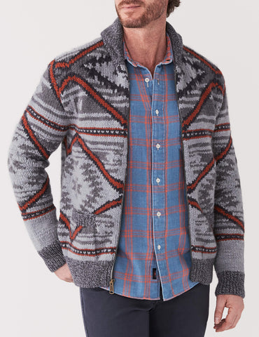 Exclusive Stag Provisions Hand Knit Zip Cardigan - Sunrise Beam