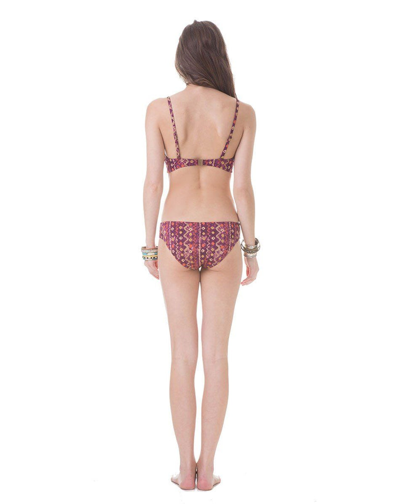 purple printed bikini bottom back view