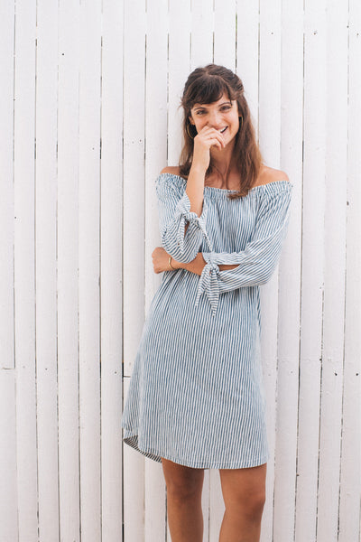 Waverly Dress - Salt Wash Indigo Stripe