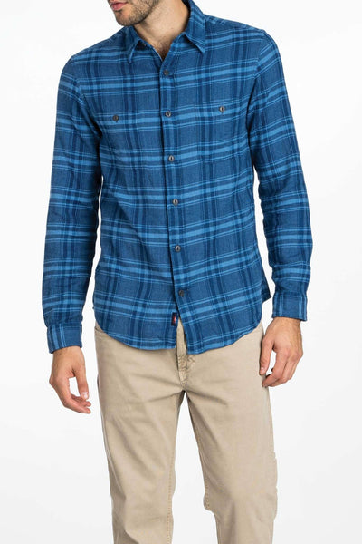 blue checkered plaid flannel shirt