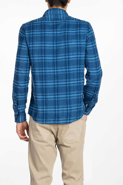 blue checkered plaid flannel shirt back view