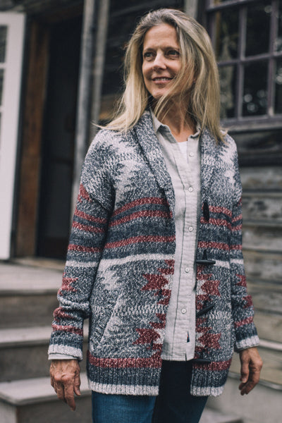 Mammoth Cardigan - Charcoal Aztec