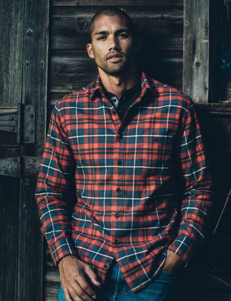 Stretch Seaview Flannel - Red Charcoal Grey