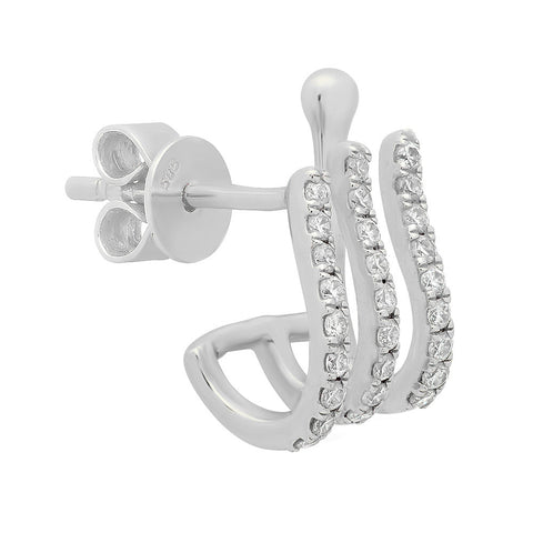 14K White Gold Diamond Triple Huggie Earring Cuff