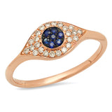 14K Gold and Diamond Sapphire Evil Eye Ring