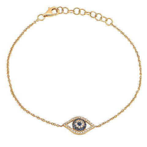 14K Yellow Gold Diamond and Sapphire Evil Eye Bracelet