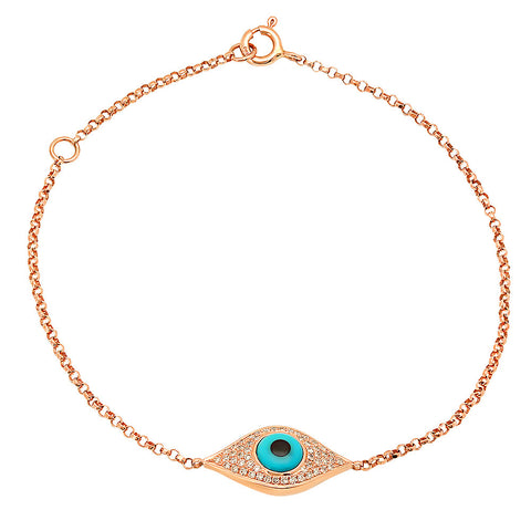 14K Yellow Gold Blue Enamel Evil Eye Bracelet