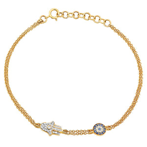 14K Gold Diamond and Sapphire Hamsa and Evil Eye Bracelet