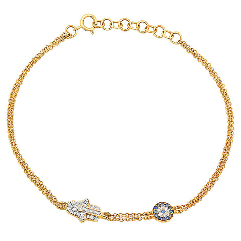 14K Gold Diamond and Sapphire Evil Eye and Hamsa Bracelet