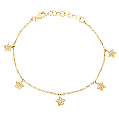 14K Yellow Gold Star Charm Bracelet