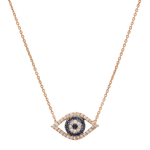 14K Gold Diamond Evil Eye Necklace .12ct