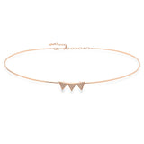 14K Rose Gold and Diamond Triple Triangle Choker